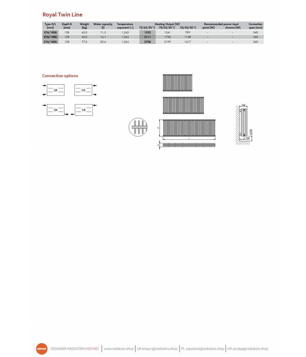 HOTHOT ROYAL TWIN LINE - Radiateur avec raccordement classique