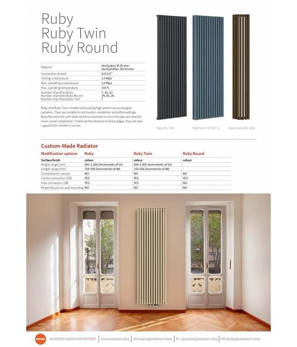 HOTHOT RUBY ROUND - Designer Corner Radiator