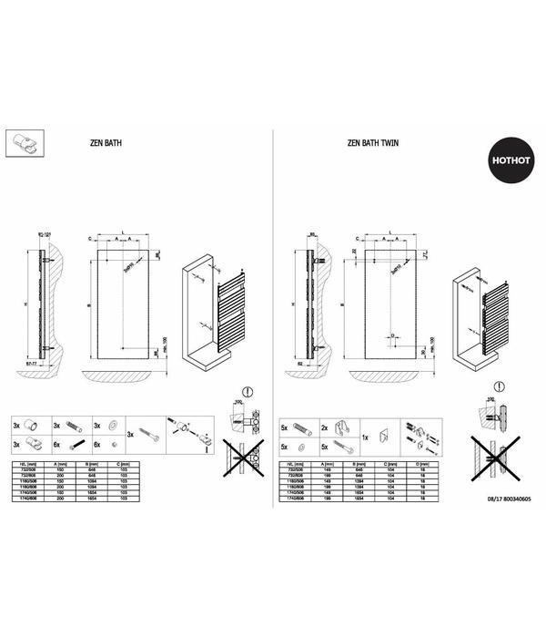 HOTHOT ZEN BATH - Sèche-serviette Chauffage central - Radiateur pour votre salle de bain