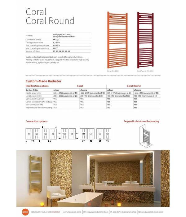 HOTHOT CORAL CHROME - radiateur mixte eau chaude/électrique