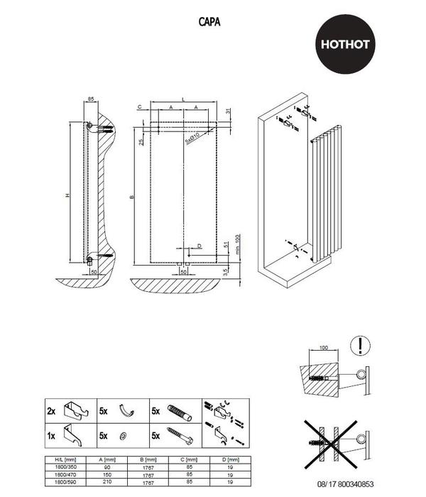 HOTHOT  CAPA   Radiateur en version vertical  avec des crochets practiques