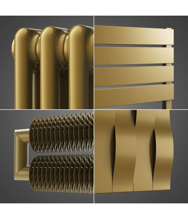 Design-Heizkörper, Bad-Heizkörper mit der Gold-Metallic Farbe ...