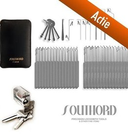 SouthOrd Best seller – set per il lock picking di 77 pezzi + una serratura per fare pratica