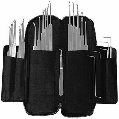 SouthOrd Set di 37 pezzi per lockpicking serie slim della