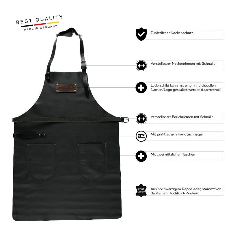 Feuermeister® Premium Leder Schürze Schwarz