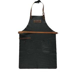 Feuermeister® Premium Leder Schürze Schwarz mit brauner Beriemung