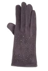 Tantrend grijze faux suede handschoenen met hematiet kristallen