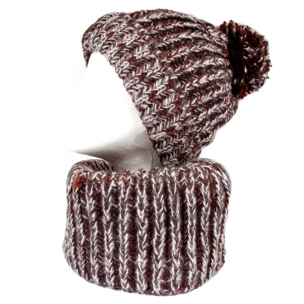 Tantrend Bruine infinity sjaal en muts met pompon