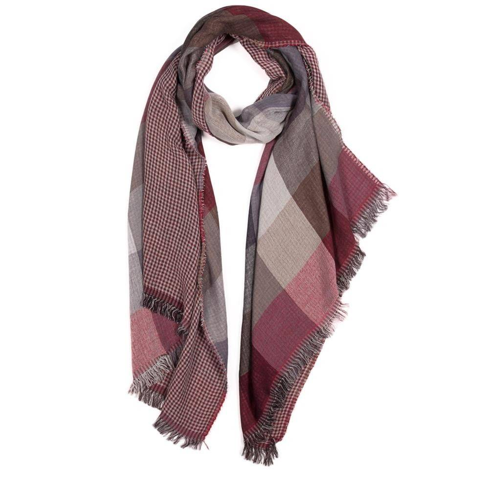 Tantrend Dubbelzijdige bordeaux sjaal met vierkanten motief