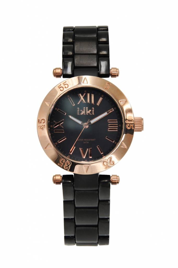 IKKI Daisy black/rose gold horloge D18M