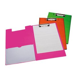 Papierklem Klembordmap A4/folio met 100mm klem + penlus neon roze Papierklem 60327