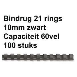 GBC Bindrug GBC 10mm 21rings A4 zwart 100stuks