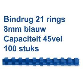 GBC Bindrug GBC 8mm 21rings A4 blauw 100stuks