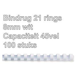 GBC Bindrug GBC 8mm 21rings A4 wit 100stuks