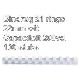 GBC Bindrug GBC 22mm 21rings A4 wit 100stuks