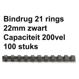 GBC Bindrug GBC 22mm 21rings A4 zwart 100stuks