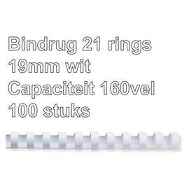 GBC Bindrug GBC 19mm 21rings A4 wit 100stuks