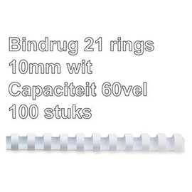 GBC Bindrug GBC 10mm 21rings A4 wit 100stuks