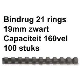 GBC Bindrug GBC 19mm 21rings A4 zwart 100stuks