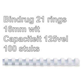 GBC Bindrug GBC 16mm 21rings A4 wit 100stuks