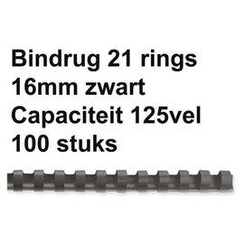 GBC Bindrug GBC 16mm 21rings A4 zwart 100stuks