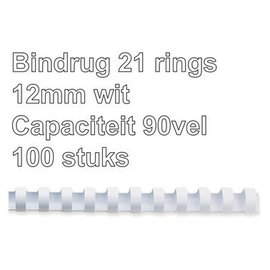 GBC Bindrug GBC 12mm 21rings A4 wit 100stuks