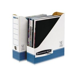 Bankers Box 10 x Tijdschriftcassette Bankers Box System A4  wit blauw