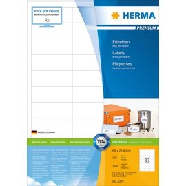 Herma Herma 4275 etiketten wit 66x25 4 premium A4 3300 st.