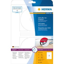 Herma Herma 4699 dvd-/blu-ray-etiketten wit ø116 A4 lasercopy 50 st.