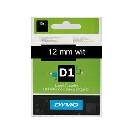 Dymo Labeltape Dymo 45021 d1 720610 12mmx7m wit op zwart