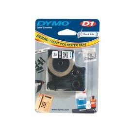 Dymo Labeltape Dymo 16959 d1 718060 12mmx5.5m poly zwart op wit