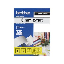 Brother Labeltape Brother p-touch tze111 6mm zwart op transparant