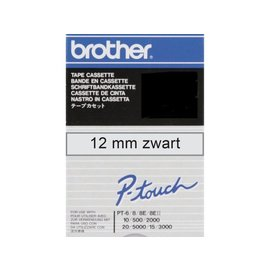 Brother Labeltape Brother p-touch tc101 12mm zwart op transparant