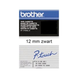 Brother Labeltape Brother p-touch tc201 12mm zwart op wit