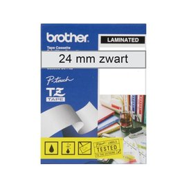 Brother Labeltape Brother p-touch tze151 24mm zwart op transparant