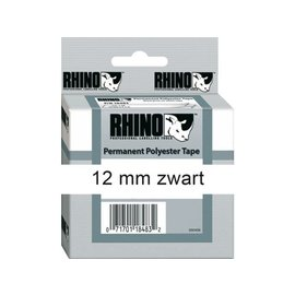 Dymo Labeltape Dymo rhino 18483 polyester 12mmx5.5m zwart op wt
