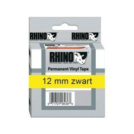 Dymo Labeltape Dymo rhino 18432 12mmx5.5m vinyl zwart op geel