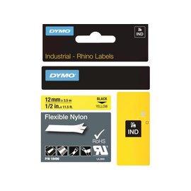 Dymo Labeltape Dymo rhino 18490 nylon 12mmx3.5m zwart op geel