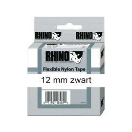 Dymo Labeltape Dymo rhino 18488 nylon 12mmx3.5m zwart op wit