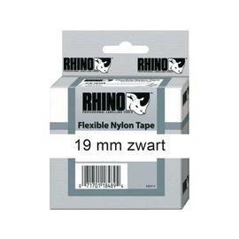 Dymo Labeltape Dymo rhino 18489 nylon 19mmx3.5m zwart op wit