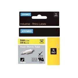 Dymo Labeltape Dymo rhino 18054 krimpkous 9mmx1.5m zwart op geel