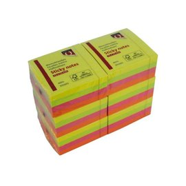 Quantore Memoblaadjes Quantore 75x75mm neon kleuren assorti 4 kleuren