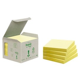 3M Post-it Memoblok 3M Post-it 654-1B 76x76mm 6 stuks recycled geel