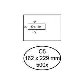 Quantore Envelop Quantore 162x229mm venster 4x11cm links zelfkl 500st