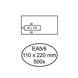 Quantore Envelop Quantore 110x220mm venster 3x10cm links zelfkl 500st