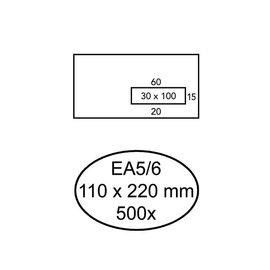 Quantore Envelop Quantore 110x220mm venster 3x10cm rechts zelfkl 500s