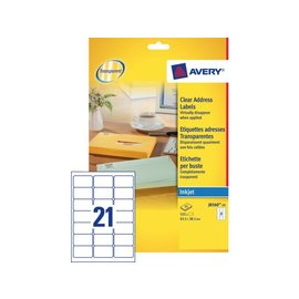 Avery Etiket Avery j8560-25 63.5x38.1mm transparant 525stuks