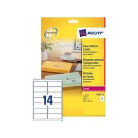 Avery Etiket Avery l7563 99.1x38.1mm transparant 350stuks