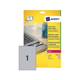 Avery Etiket Avery l6013-20 210x297mm zilver 20stuks