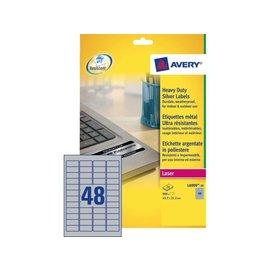 Avery Etiket Avery l6009-20 45.7x21.2mm zilver 960stuks